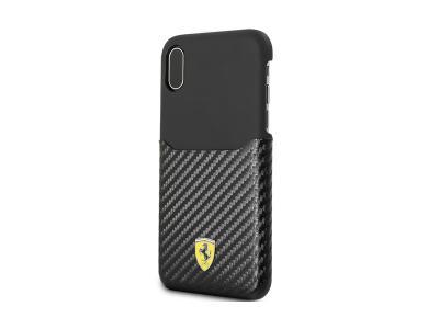 Ferrari PU Leather with PU Carbon Fiber Card Slot iPhone X FESPAHCPXBK