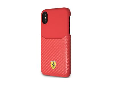 Ferrari PU Leather with PU Carbon Fiber Card Slot iPhone X FESPAHCPXRE