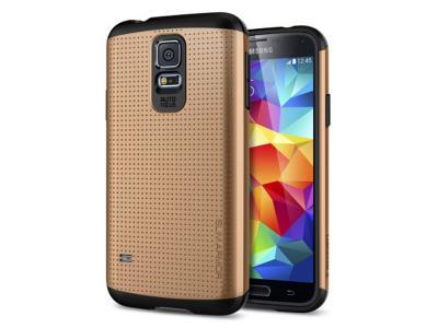 half off e3917 a4b49 Spigen Slim Armor Case for Samsung Galaxy S5 - Gold