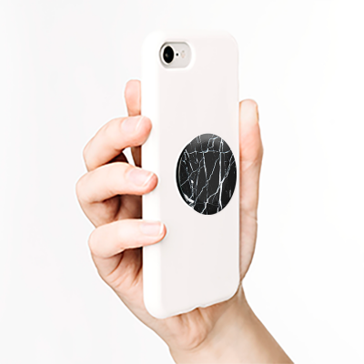 PopSockets Grip Stand Black And White Marble Matte Print