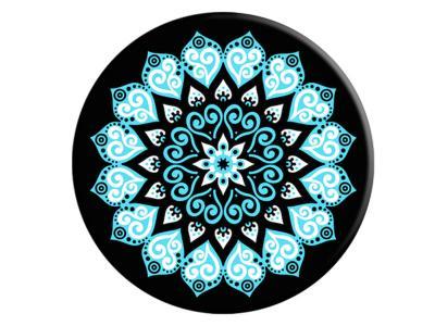 PopSockets Peace Mandala Sky Teal And White Mandala On Black