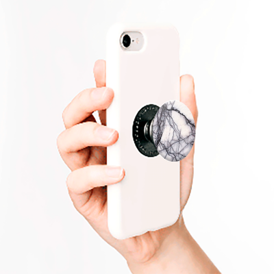 PopSockets White Marble Faux White Marble With Black Veins