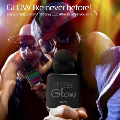 Tzumi PopSolo Glow Bluetooth Karaoke Microphone with Dancing LED Effects